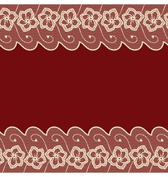 Dark red background with two lacy borders vector