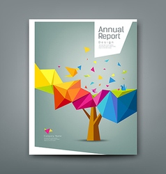 Cover report tree colorful geometric with bird vector