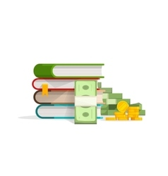 Books stack with pile of cash coins vector