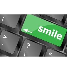 Computer keyboard with smile words on key - vector image