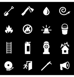 White firefighter icon set vector