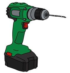 Green cordless drill vector