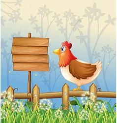 A hen above a wooden fence facing a wooden vector