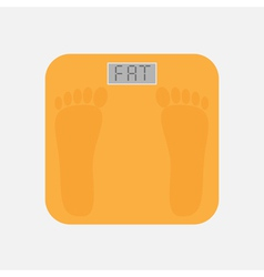 Bathroom floor electronic weight scale word fat vector image