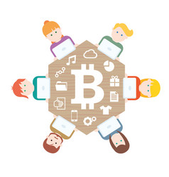 Bitcoin money translations with people vector