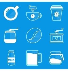 Blueprint icon set Coffee vector image