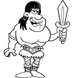 Cartoon barbarian holding a sword vector