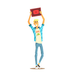 Cheerful young bloger man standing with a tablet vector