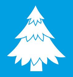 Coniferous tree icon white vector