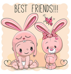 Cute cartoon baby and bunny vector