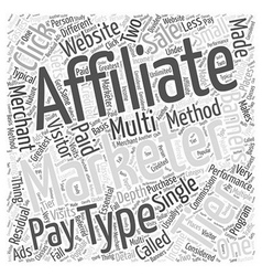 Different types of affiliate marketing word cloud vector