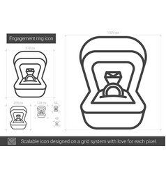 engagement ring line icon vector image vector image