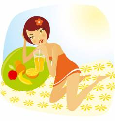 Girl with fruits vector