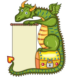 Green dragon sits on a gold chest vector