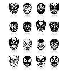 Lucha libre luchador mexican wrestling black mask vector