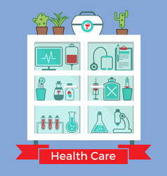 medical decorative icons set vector image