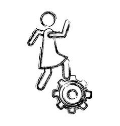 Monochrome sketch of woman over pinion vector