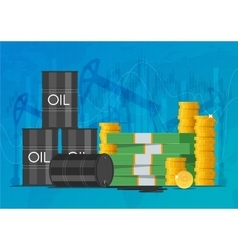 Oil cask gold coins and piles of money business vector