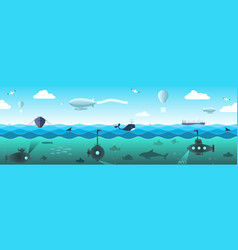 panorama of the high seas vector image