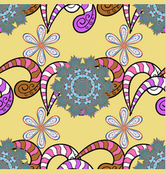 pattern with spring flowers with branch on yellow vector image