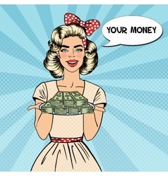 Pop art beautiful woman holding a plate with money vector