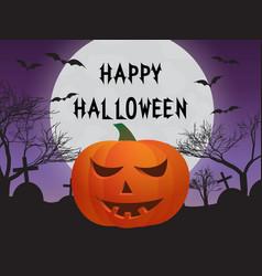 pumpkin cemetery bats vector image vector image