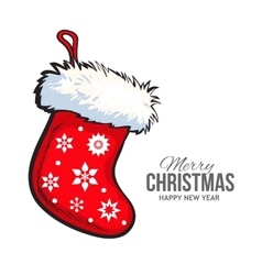 Red Christmas boot greeting card template vector image vector image