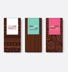 set dark brown of chocolate bar package vector image vector image