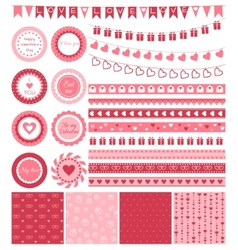 Set of design elements for Valentines Day or vector image