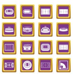 sport stadium icons set purple vector image vector image