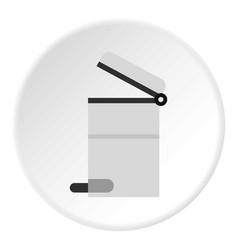 Steel trashcan icon circle vector