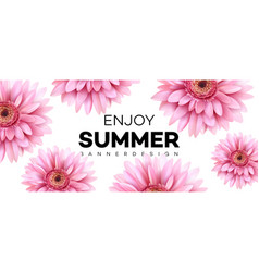 summer banner with gerbera flower vector image