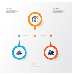 Travel icons set collection of yacht shipping vector