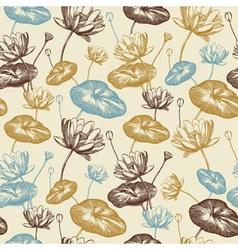Vintage Lotus Flowers Pattern vector image vector image