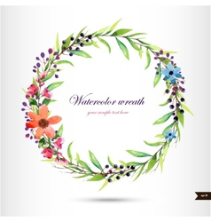 Watercolor wreath with flowersfoliage and branch vector
