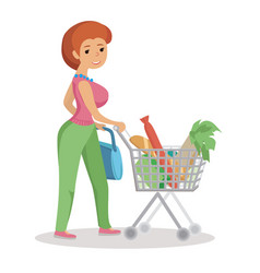 woman pushing supermarket shopping cart full of vector image