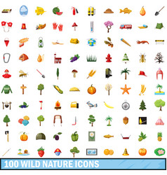 100 wild nature icons set cartoon style vector