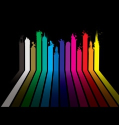 rainbow paint dribble black vector image