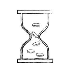 Hourglass with coins icon vector