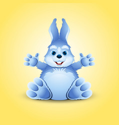 Blue little funny bunny vector