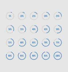 Pie charts circle percentage diagrams of loading vector
