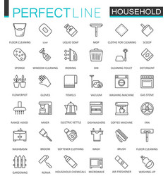 Household appliances thin line web icons set vector