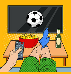 Man with remote control watching football on tv vector