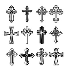 Set of isolated christian and catholicism crosses vector