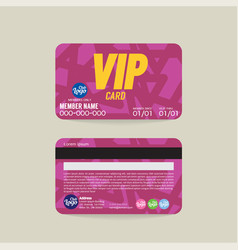 front and back vip member card template vector image