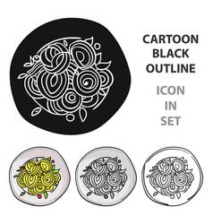 italian spaghetti pasta icon in cartoon style vector image
