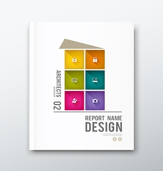 Cover annual report colorful building graphic vector image