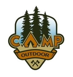 The camp outdoors hiking and traveling vector