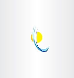 Sun icon and water wave abstract logo vector