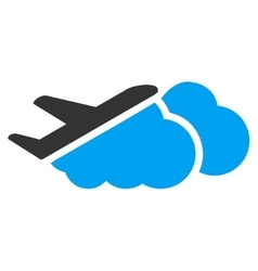 Airplane over clouds flat icon vector